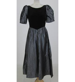Gale Glass: Size S: Black velvet and taffeta V-back maxi dress