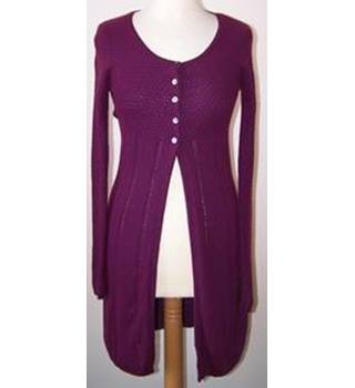 White Stuff Size: L Purple  Long-line Cardigan