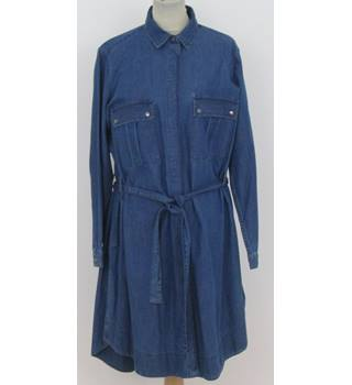 M&S Blue Button up Denim Dress  Size: 16