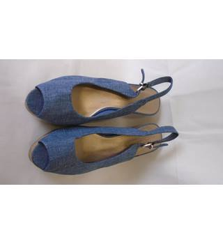 NWOT M&S NEW DENIM WEDGE HEELS, SIZE 7 M&S Marks & Spencer - Size: 7 - Blue