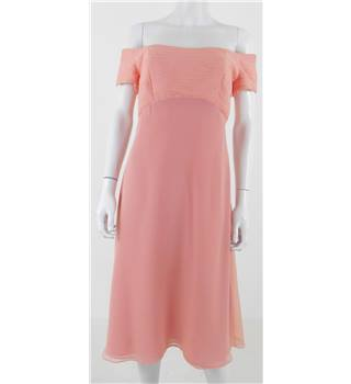 Jim Hjelm Size 10 Salmon Pink Capped Sleeved Dress