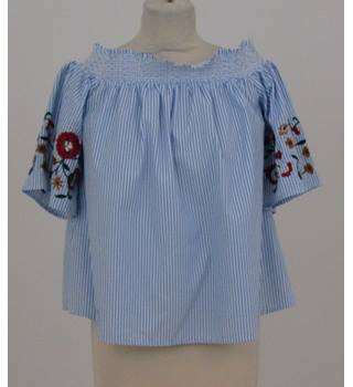 M&S Collection - Size 12 - Blue/White Striped with Floral Embroidered -  Off the Shoulder Top