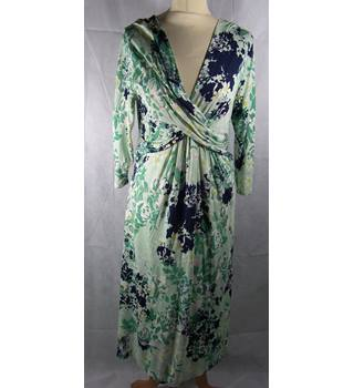 M&S Collection - Size: 14 - Mint Green with White, Green and Navy Floral Pattern Wrap-around Dress