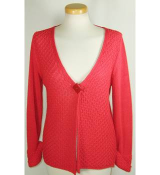 Per Una Size M Red Acrylic One Button Cardigan