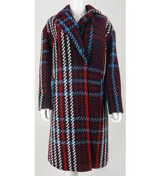 NWOT M&S Collection Size 18 Petite Navy with Burgundy, White and Sky Blue Check Coat