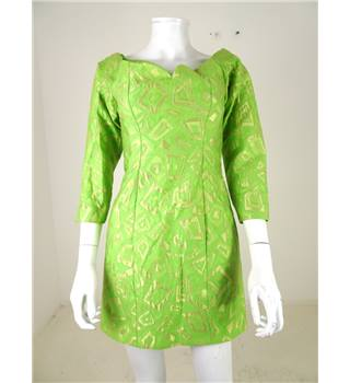 "Vintage 1980s Handmade Size 30"" chest Lime Green/Gold Geometric Off-The-Shoulder Dress"