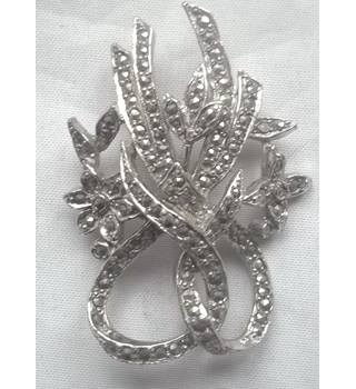 Silver Coloured Brooch With Marcasite Stones