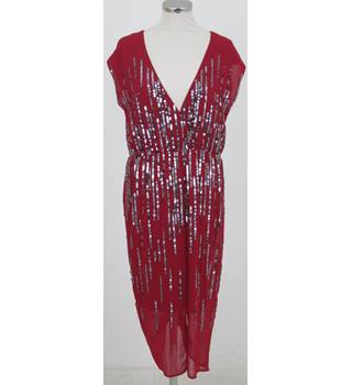 Next Size:10 red sequinned party dress