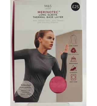 NWOT M&S, size 16 pink Merinotec long sleeve thermal base layer