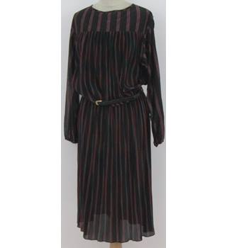 Vintage 80s St Michael Size:18 black with mulberry/turquoise striped - blouson dress