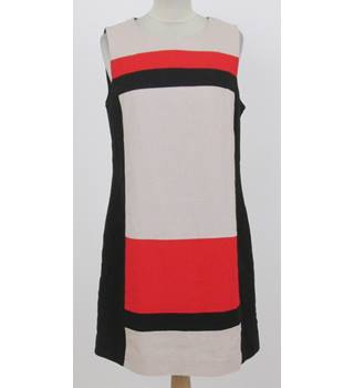 Debenhams - Size: 12 - Black, Beige & Red Sleeveless Dress