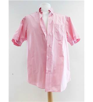 M&S Man Size: M Coral Red and White Checked Short Sleeved Shirt