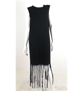 Topshop Size 16 Black Fringed Dress