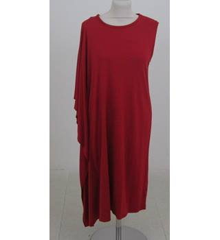 NWOT M&S Marks & Spencer - Size: 8 - Red - Knee length one side drape tunic dress