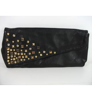 Pied A Terre Large Black Leather Clutch Bag
