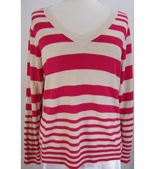 BHS - Size: 16 - Dark Pink/Cream Stripe - V-neck Jumper