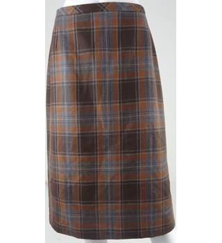 Marks & Spencer Brown/Grey/Tan Wool Check Calf-Length Skirt UK Size 12