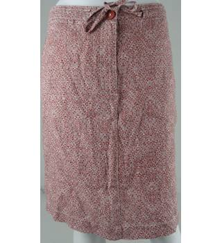Marks & Spencer Collection Brick Red Linen Pattern Knee-Length Skirt UK Size 10 / Euro Size 38
