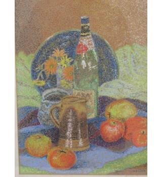 Still Life (Pointilliste) Pastel Study of Fruit and Bottles, by V.E. Cook