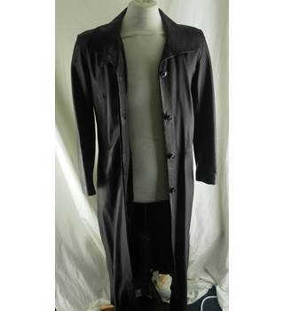 Woodlands Full Length Black Leather Coat or Duster - Size: 12