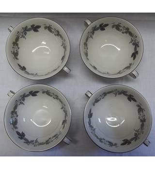 Set of Four Twin Handled Royal Doulton Burgundy Soup Bowls