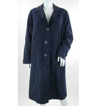 Jacques Vert - Size: L - Navy Blue - Mackintosh With Detachable Quilted Liner