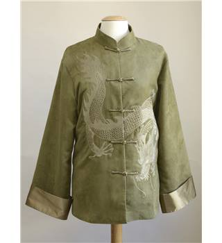 Jinhualang - Size: XL - Khaki Green with Embroidered Dragon Oriental Jacket