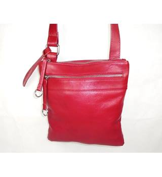 Red real leather adjustable crossbody shoulder bag