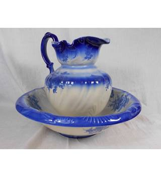 Blue and white wash bowl and jug
