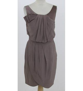 Untold: Size 10: Taupe scoop neck, front wrap dress