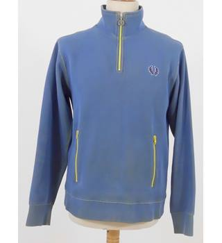 Fred Perry Size S Two Tone Blue and Yellow Sweatshirt