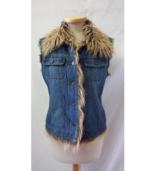 Valesi - Size: M - Blue denim - Sleeveless Jacket with removable fur style collar