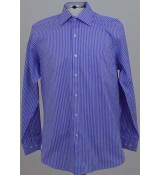 Brook Taverner - Size: M - Blue, Pink and White Vertically Striped Long Sleeved Shirt