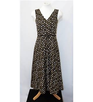 Laura Ashley - size 8, black with beige and brown spotted design calf length dress