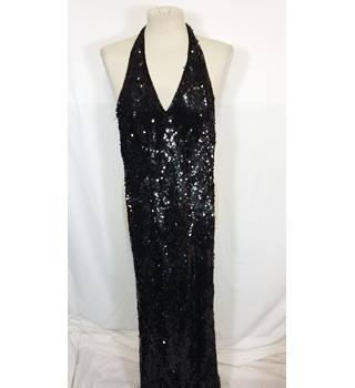 Monsoon - size 10, black sequinned evening dress