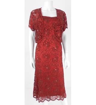 Phase Eight Size 16 Garnet Red Lace Evening Dress With Bolero