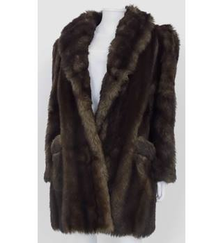 Harrods 1980's Size 12 Brown Faux Fur Coat/Jacket