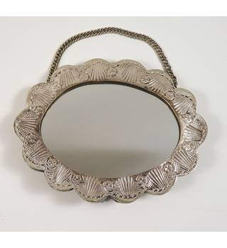 Turkish silver 900 small scalloped edge oval mirror with chain