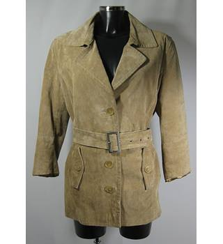 Vintage The Great Coat Company Suede Safari Jacket - Pale Beige - Size 18 (Actually more like a modern size 14/16)