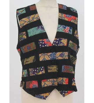 BNWT - Halsey Collection - Size: L - Black with Colourful Floral Segments Waistcoat