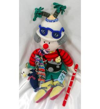 Jean Greenhowe - Godfrey Gadabout - Large Hand-knitted Jet-Setting Clown Toy/Doll