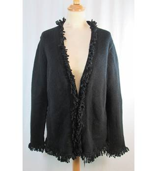 Boden - Size: 16/18 - Black Wool - Fringed Cardigan