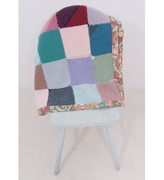Lovely Handmade Patchwork Knitted Blanket With Cotton Fabric Edging