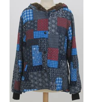 BNWT O'Nelue - Size: XL Navy and Royal Blue with Red & White Square Based Patterned Casual Coat
