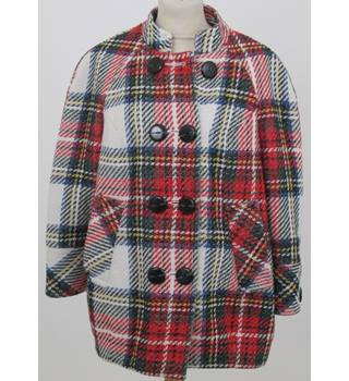 L'Art de River Island  - Size: 10 - White and Red Based Check Double Breasted Casual Coat