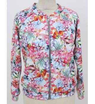 Boohoo - Size: 8 - White with Vibrant Pink, Green and Blue Floral Pattern Casual Jacket