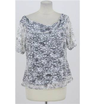 Definitions - Size: 18 - cream and black floral lace top