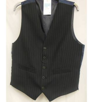 M&S Marks & Spencer Size S Navy Blue with Sky Blue Vertical Stripes Waistcoat
