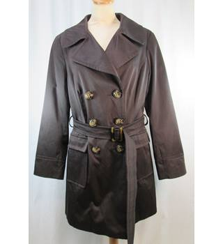 M&S Marks & Spencer Essentials - Size: 16 - Dark Brown - Double Breasted Raincoat