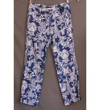 M&S Collection Size 14 Blue with White Floral Print Trousers